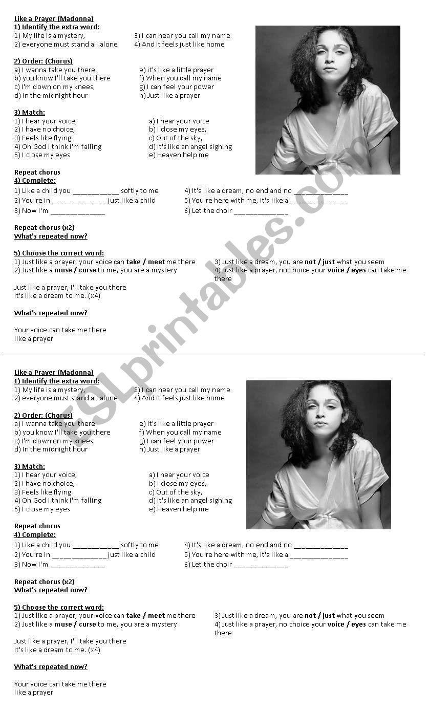 Like A Prayer (Madonna) worksheet