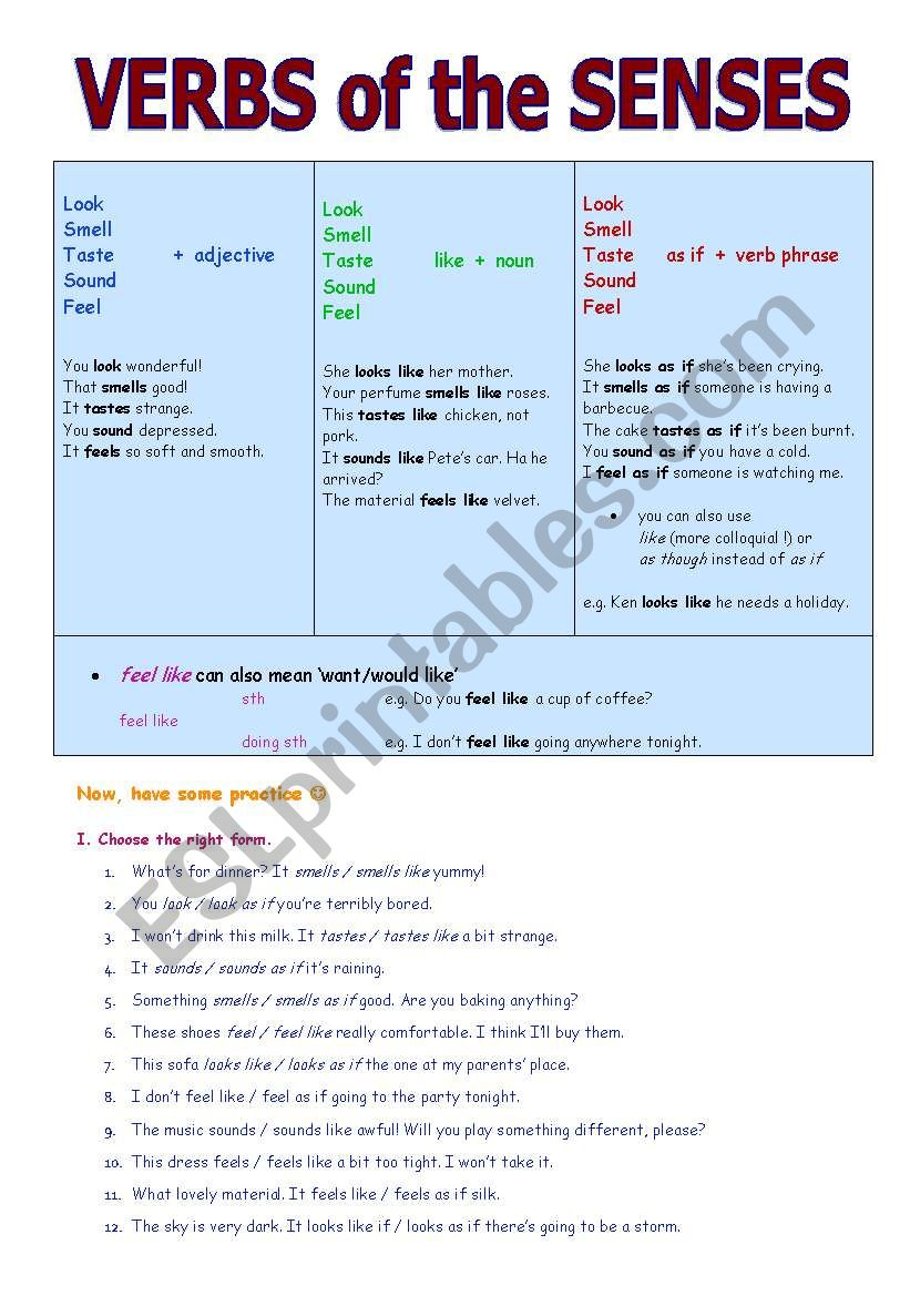 verbs of the senses worksheet
