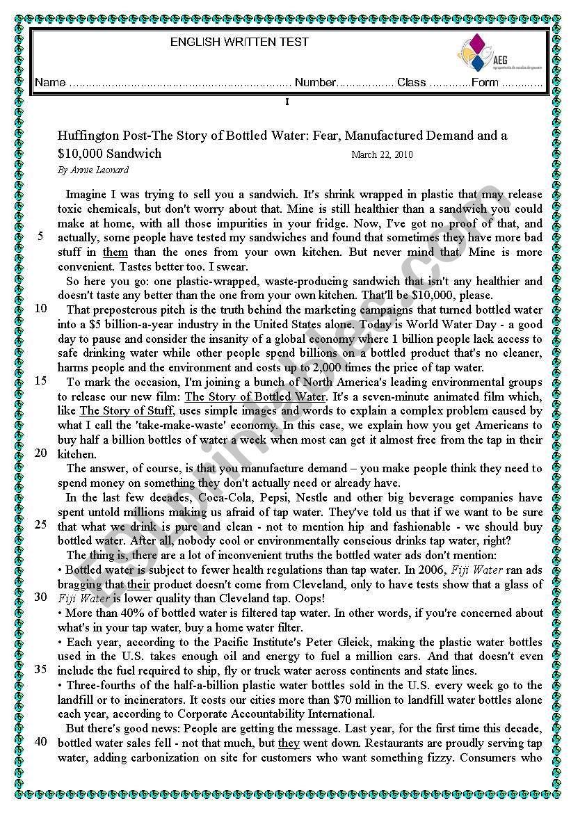 Natural Resources Water Worksheet
