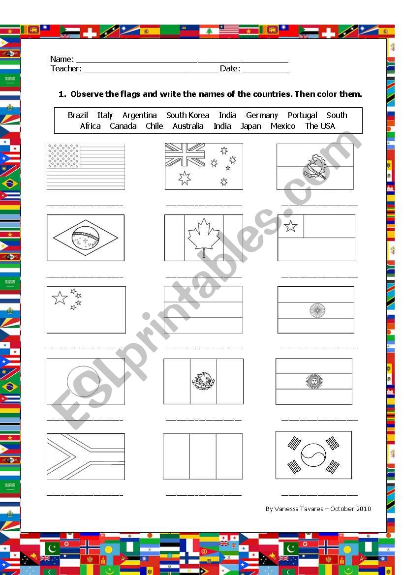Color and name the flags worksheet