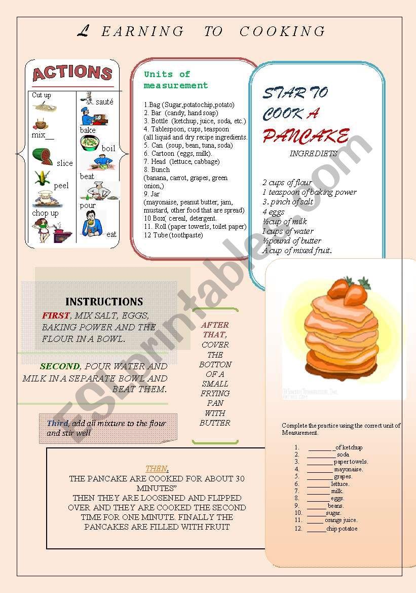 Cooking step. worksheet