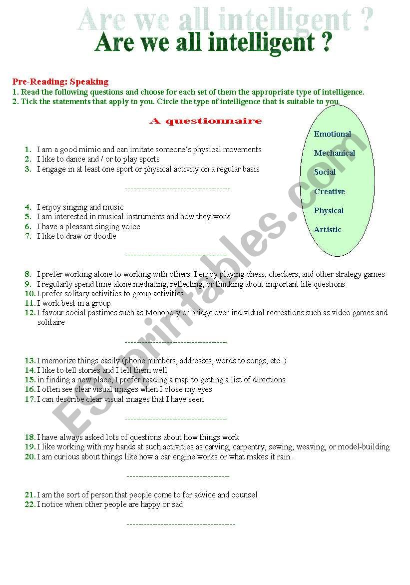Are we all intelligent? worksheet