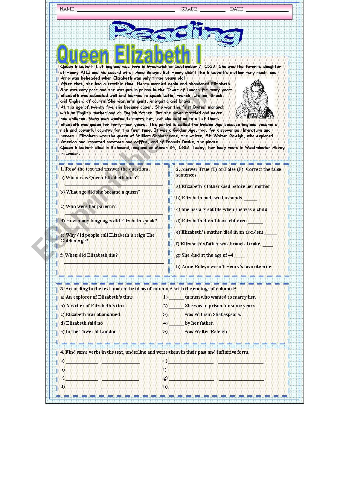 Queen Elizabeth Reading worksheet