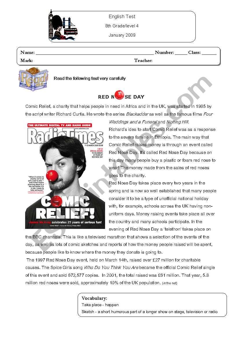 Red Nose Day test worksheet