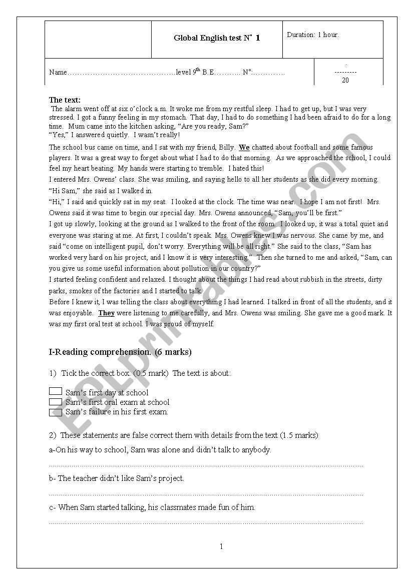 First global test  for 9th basic education form ( Tunisian curriculum)