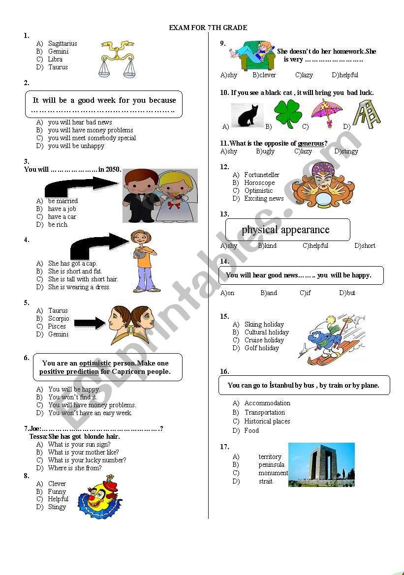 7TH GRADE EXAM PAGE 1 worksheet