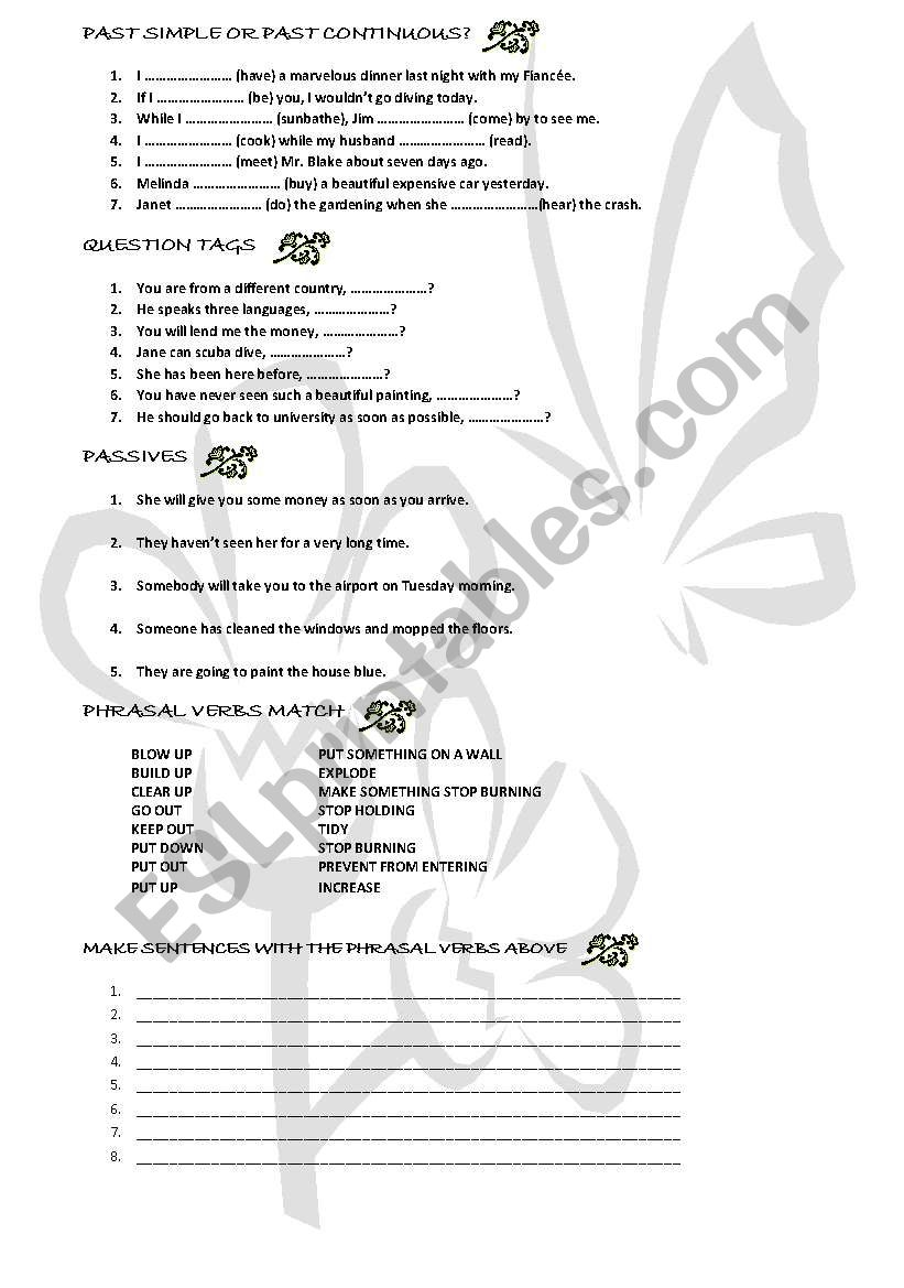 Grammar review worksheet