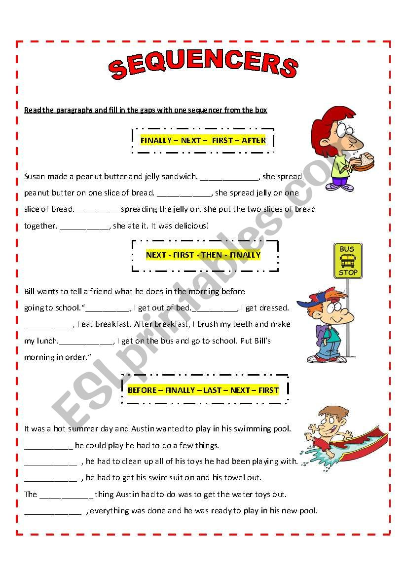SEQUENCERS - WRITING worksheet