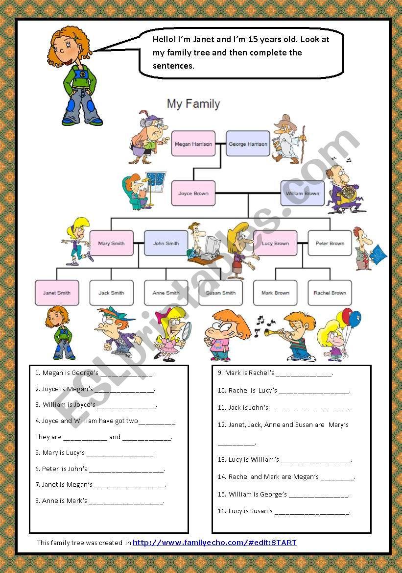 FAMILY  RELATIONSHIPS worksheet