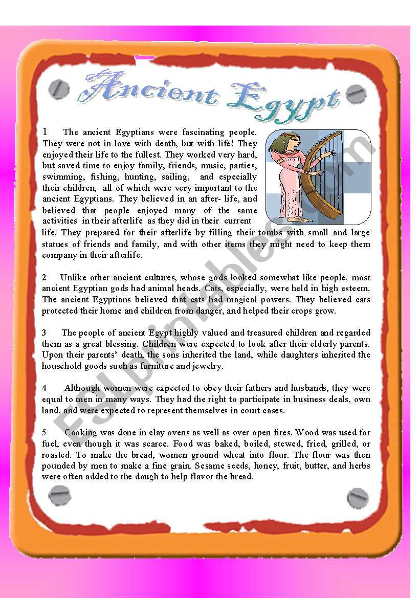 Reading - Ancient Egypt worksheet
