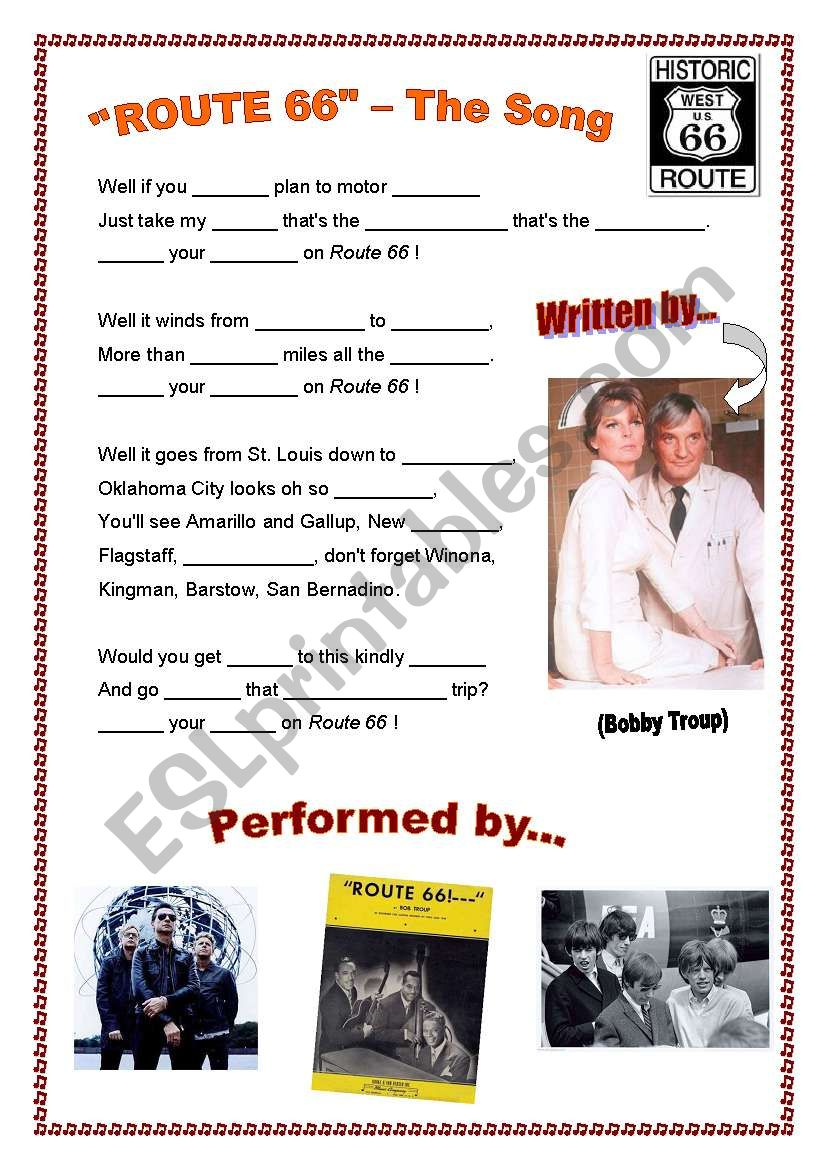 Route 66 - The Song worksheet