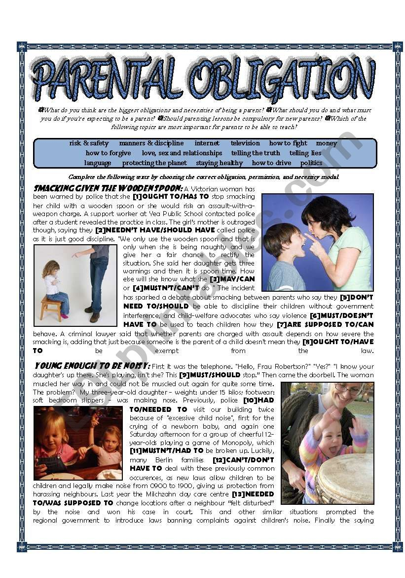 Parental Obligation - Modals of permission/obligation/necessity - Kids and Parenting