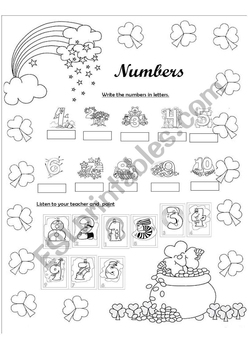 Numbers from 1-10 worksheet