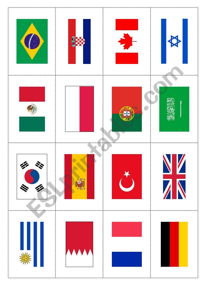 This is a photo of Exceptional Flags of the World Printable