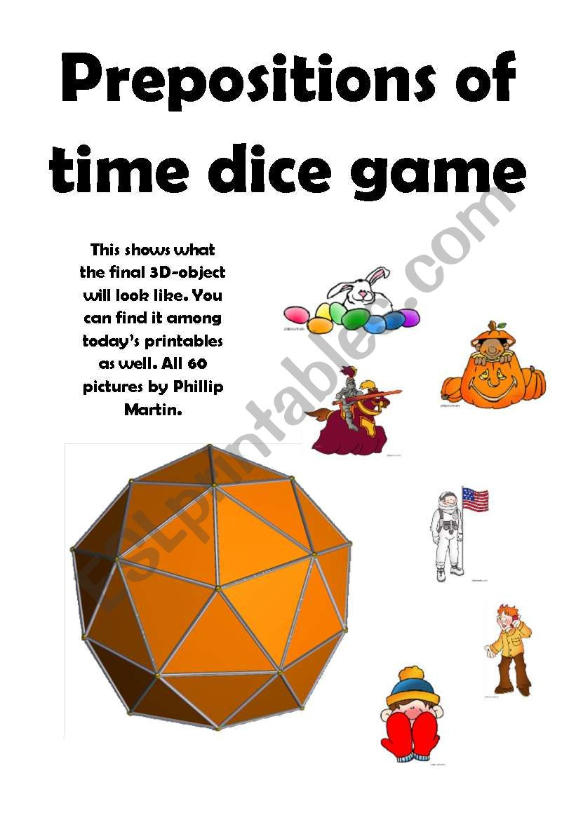 AT ON IN Time Prepositions 60-sided dice
