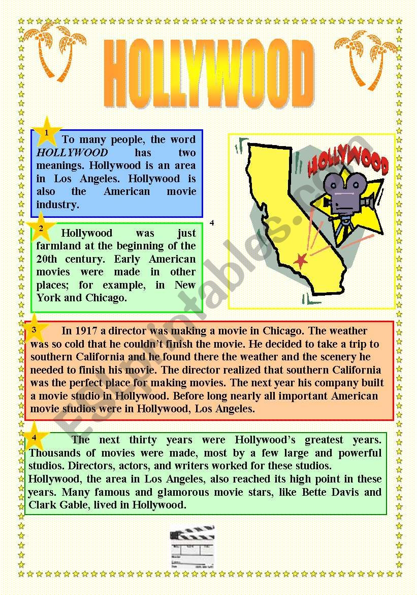 CINEMA & HOLLYWOOD - READING + ACTIVITIES + GRAMMAR (prepositions) + KEY