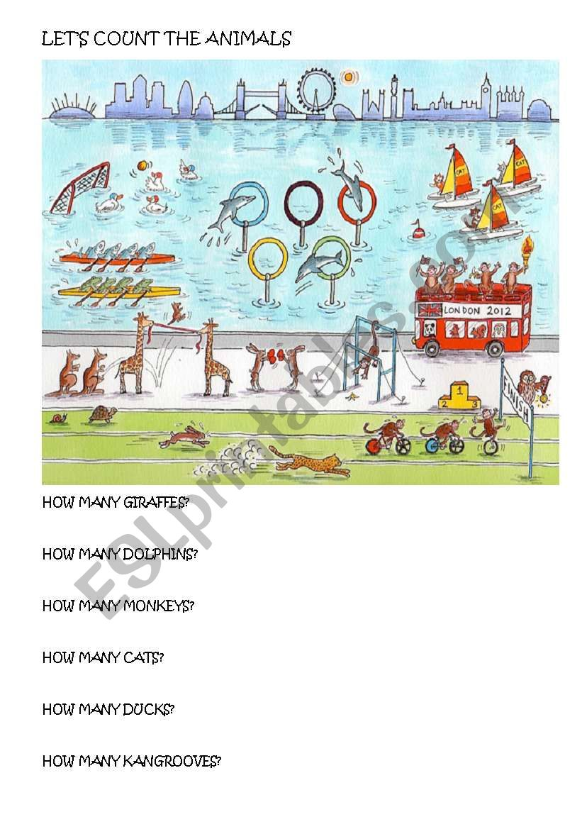 let´s count the animals worksheet
