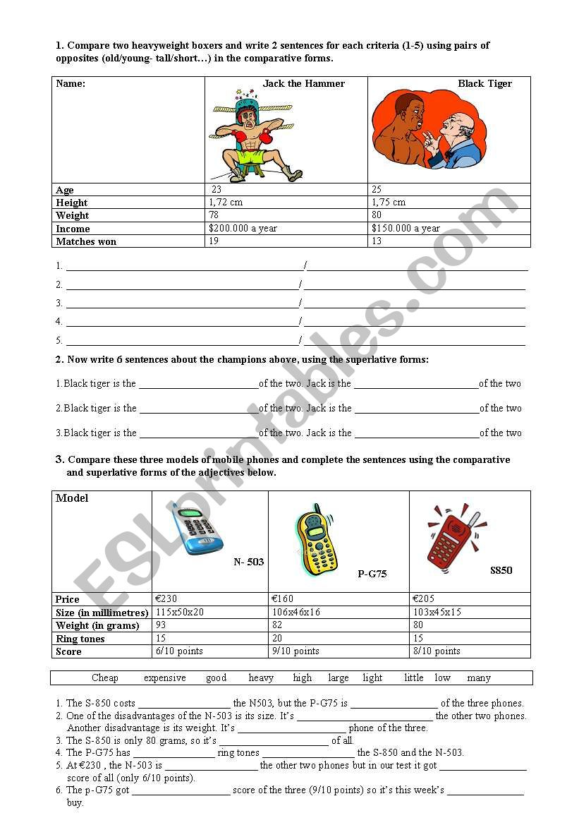 comparing people and objects  worksheet