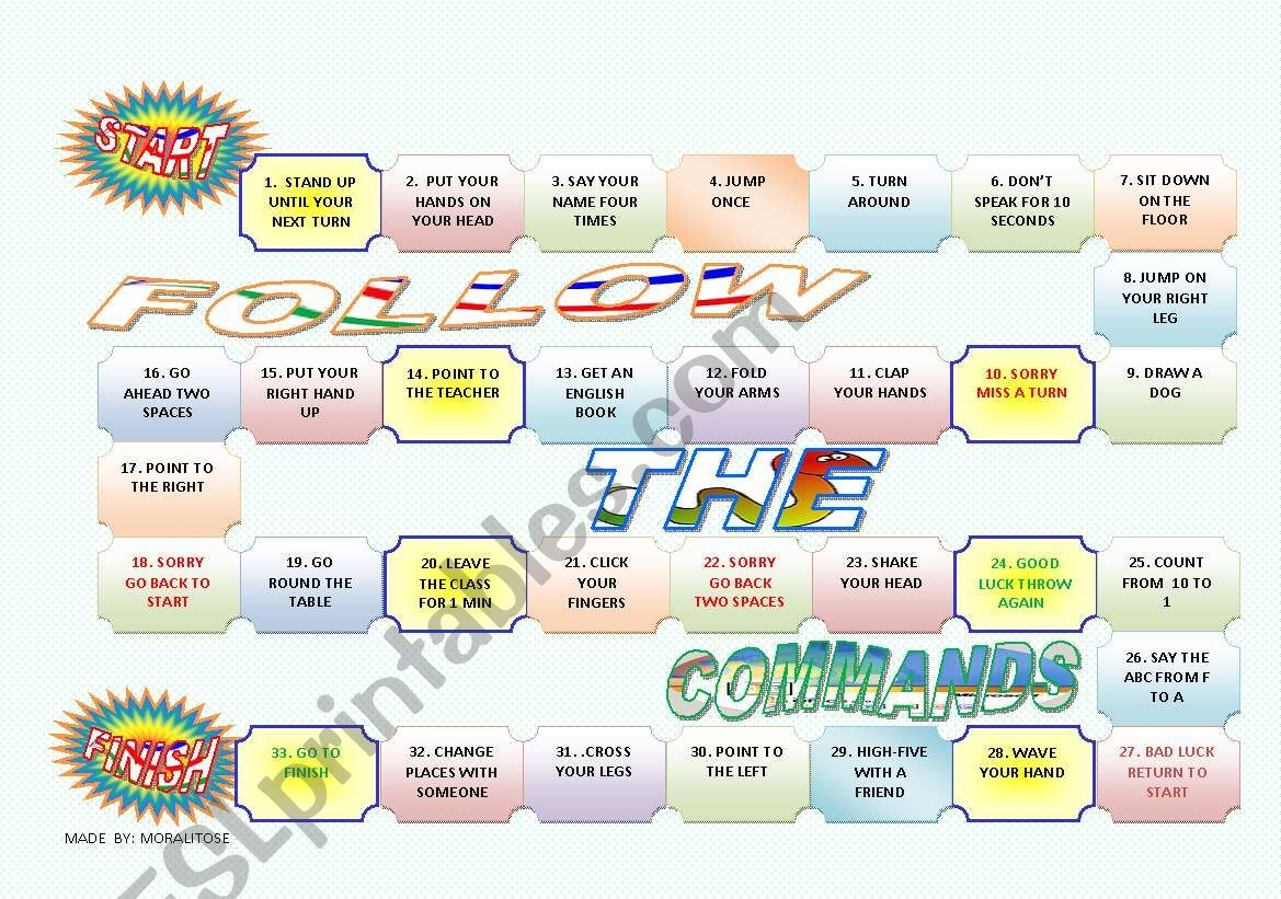 COMMANDS BOARDGAME worksheet
