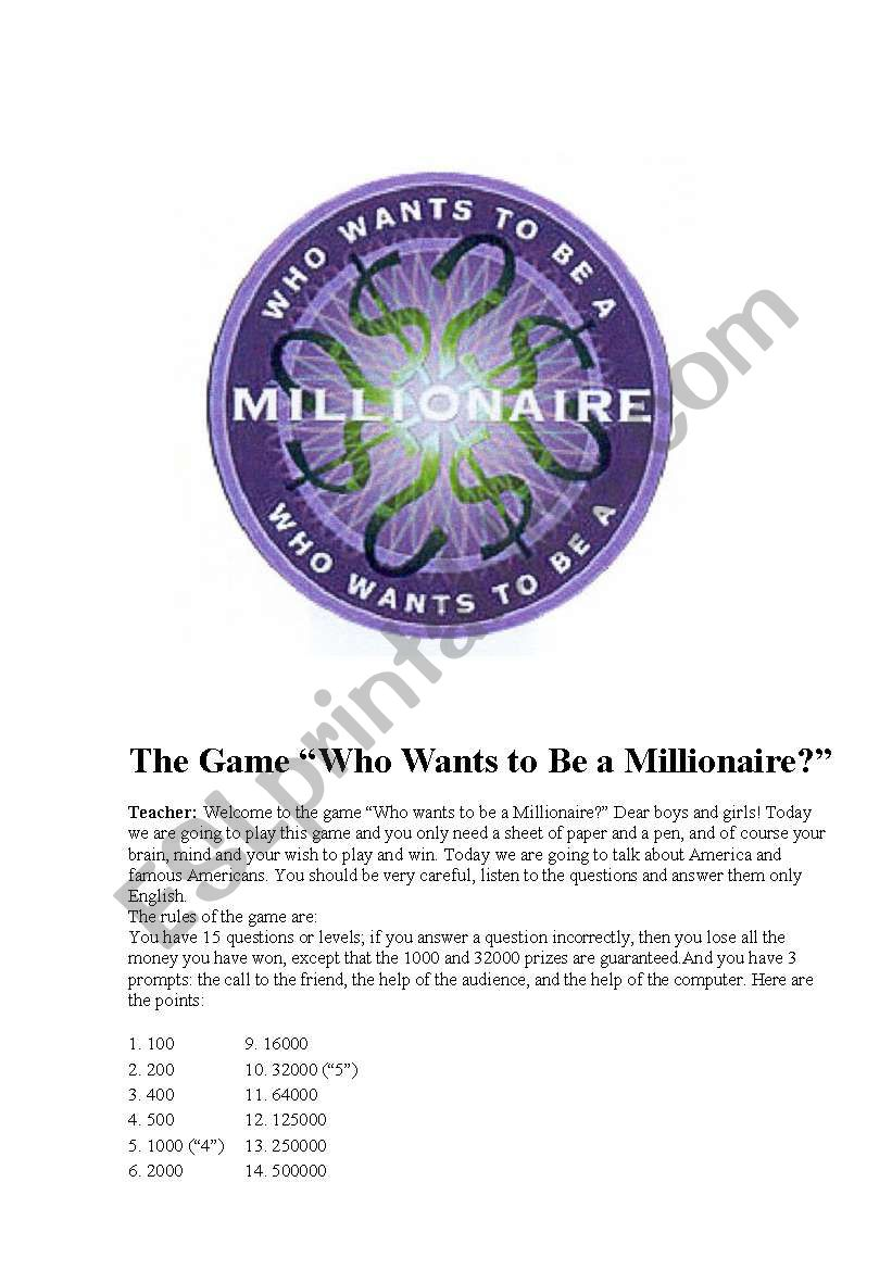 GAME! Who wants to be a millionaire?