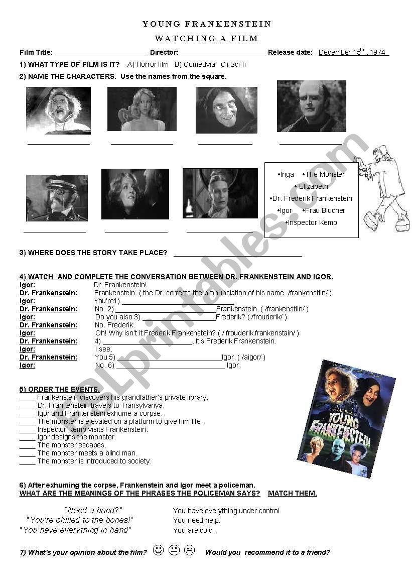 Young Frankenstein (film) - ESL worksheet by irinakar