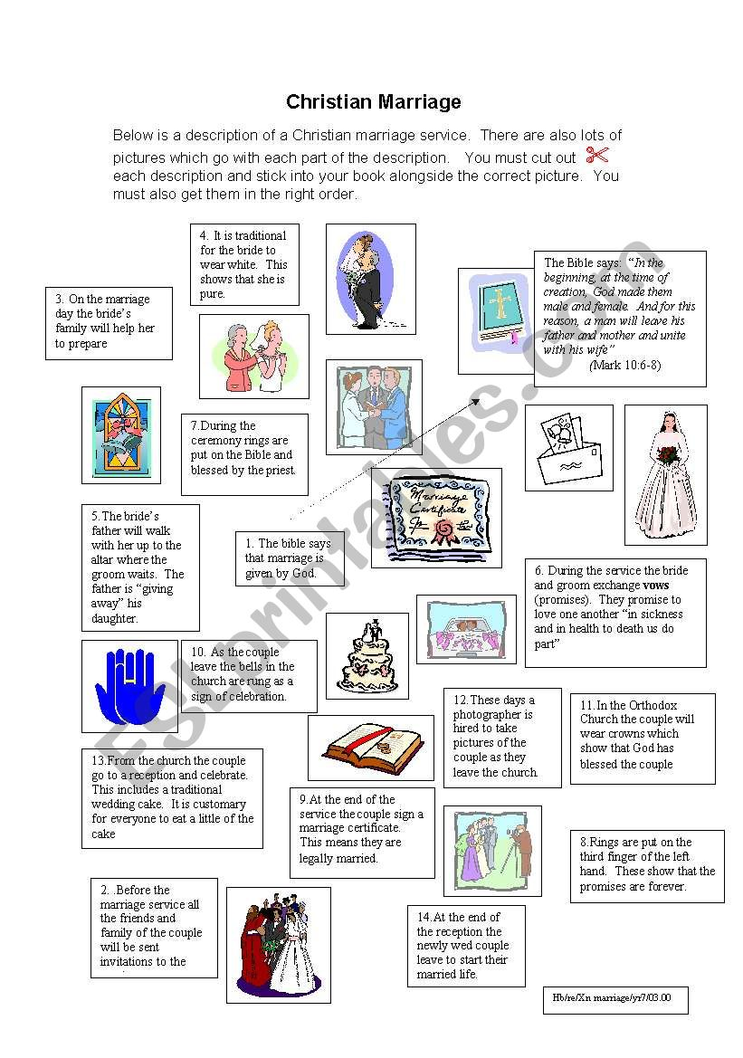 Christian Marriage Service Esl Worksheet By Birtchnell