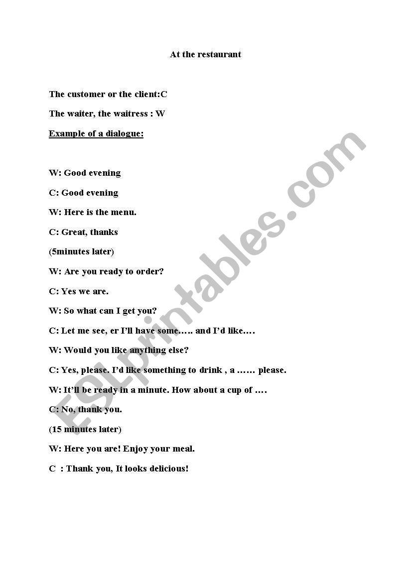 a dialogue in a restaurant worksheet