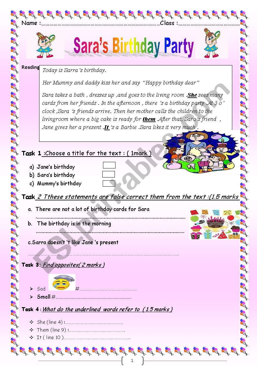 English worksheets Saras birthday party a reading with