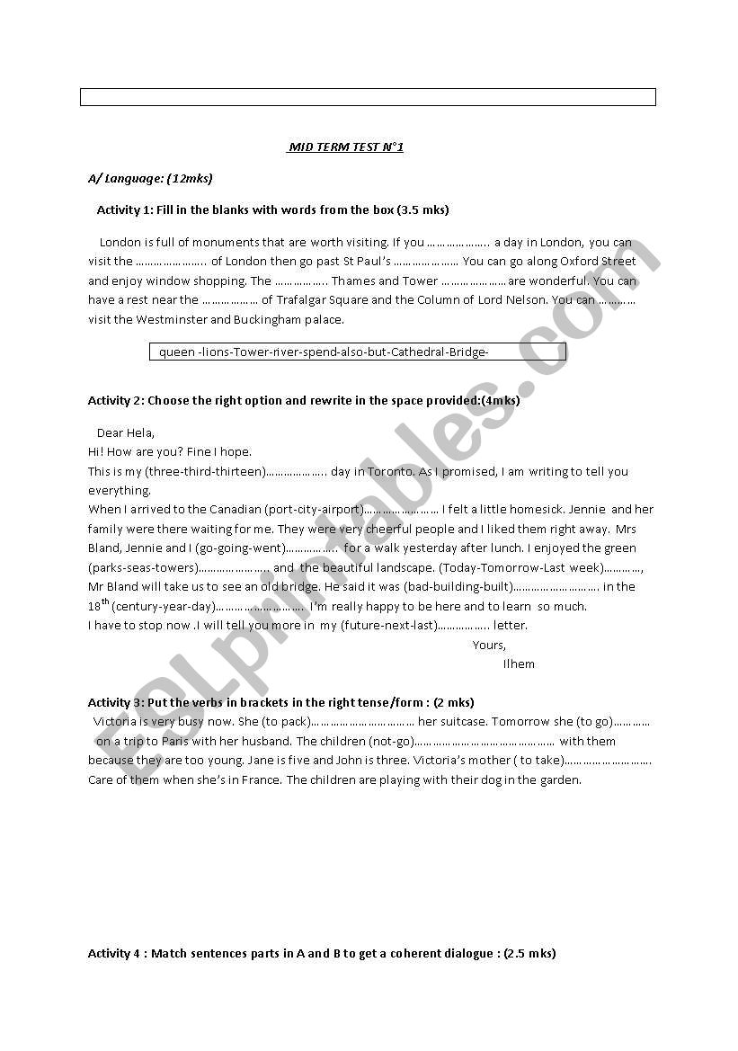 Mid Term Test n 1 worksheet