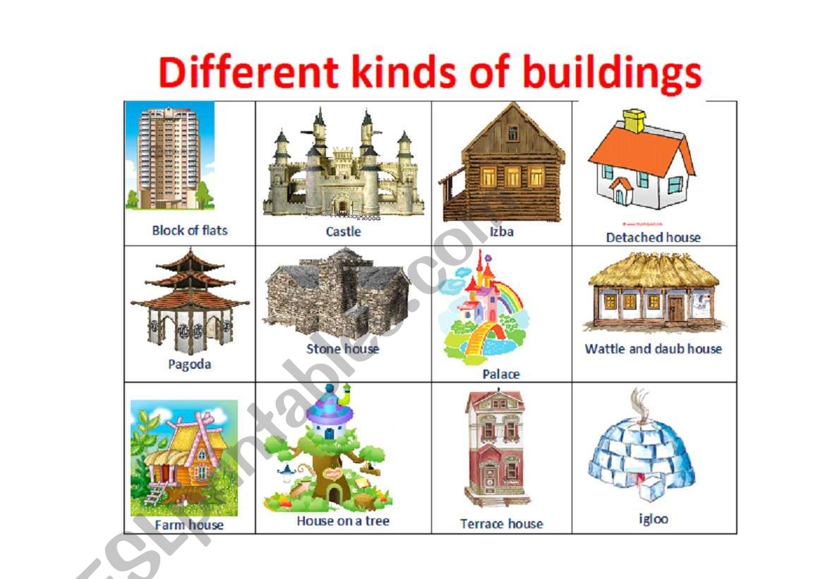 Different types of houses - ESL worksheet by juliakosach