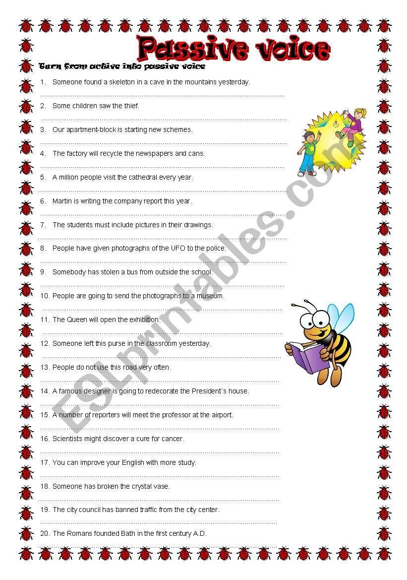 Passive voice (revision) worksheet