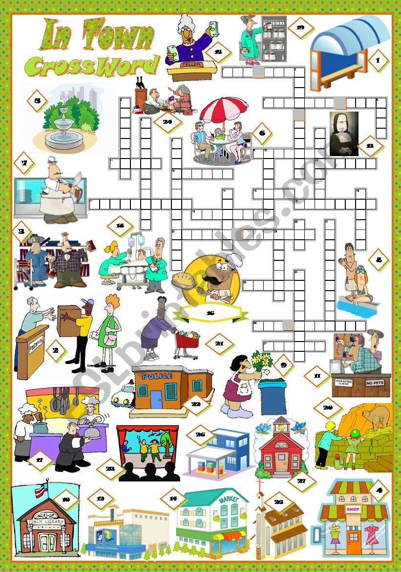 IN TOWN - Crossword worksheet