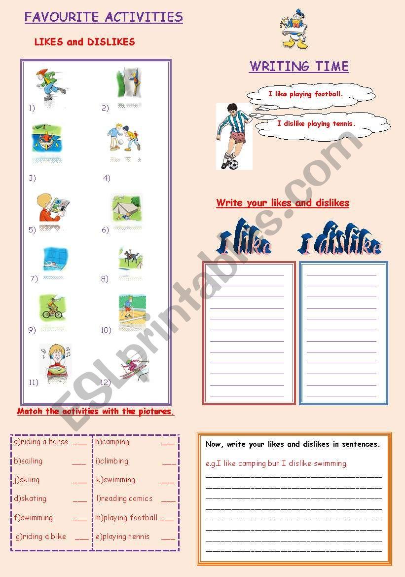 FAVOURITE ACTIVITIES worksheet