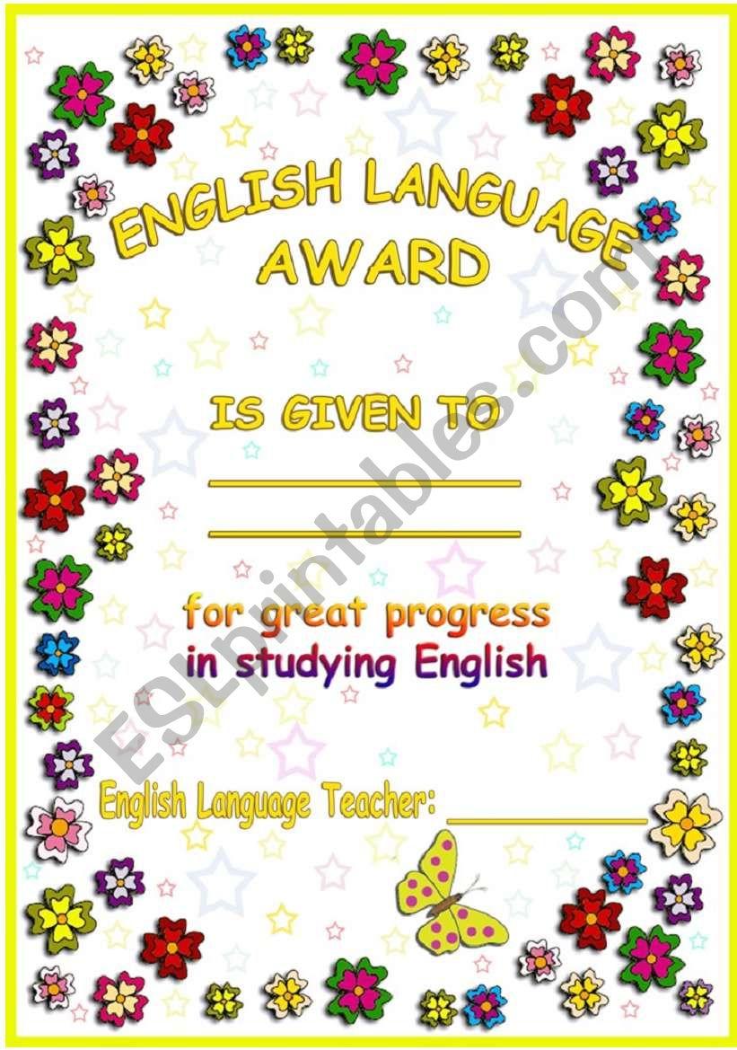 Englsh Language Award. worksheet