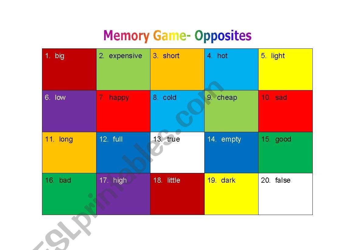 Memory Game - Opposites worksheet