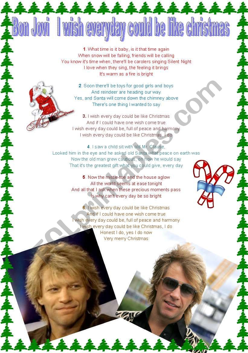 Christmas song Bon Jovi part 2 - ESL worksheet by crissorrir