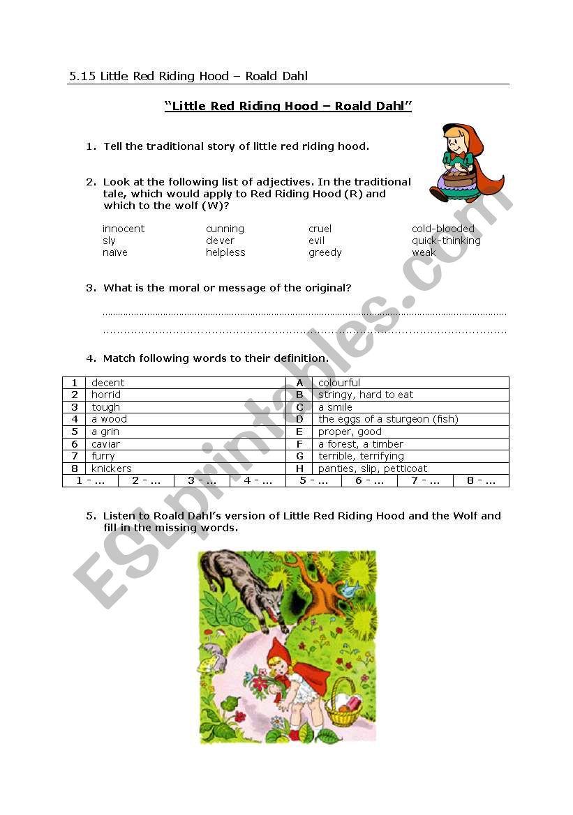 Little Red Riding Hood By Roald Dahl Vocabulary Esl