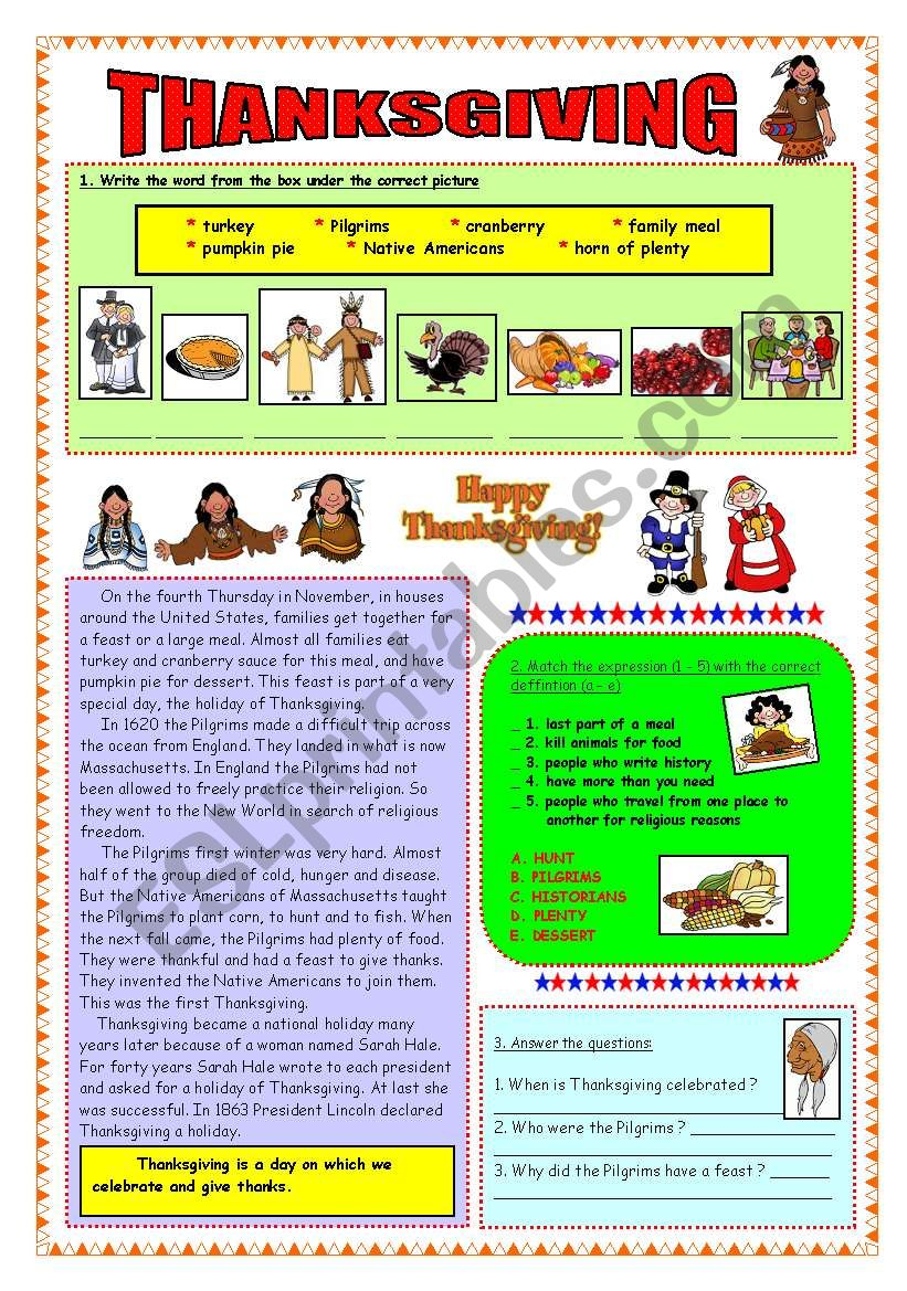 Thanksgiving - reading (fully editable & key)