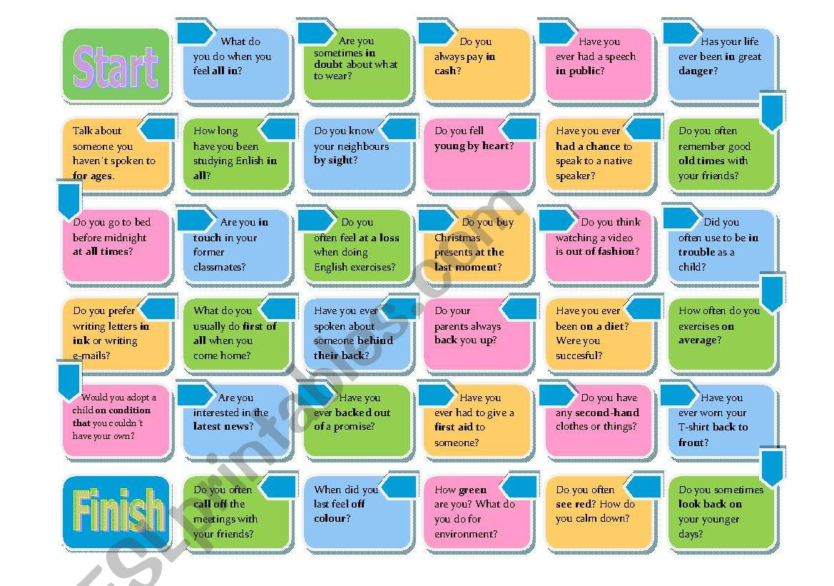Collocations and idioms-Board game