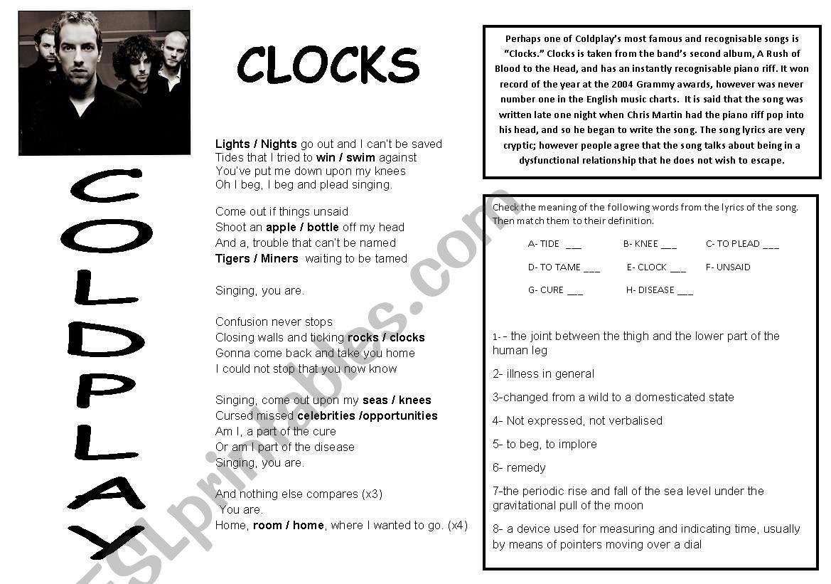 Clocks by Coldplay worksheet
