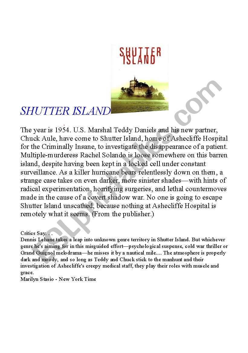 shutter island activity film esl worksheet by funkybsb. Black Bedroom Furniture Sets. Home Design Ideas