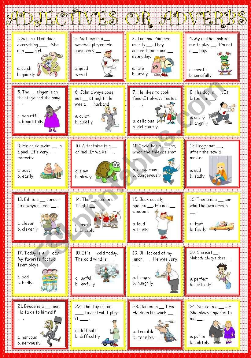 Adjectives or Adverb worksheet