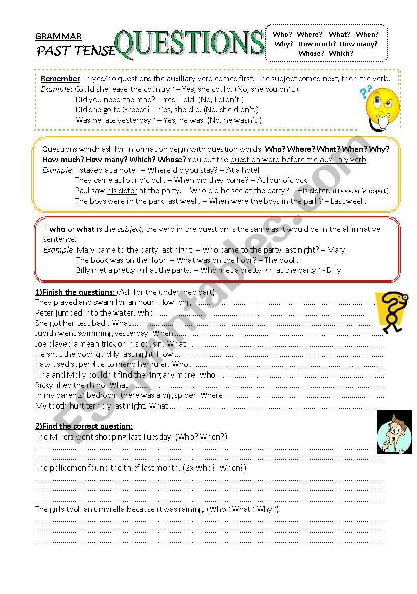 Questions - Past Tense worksheet