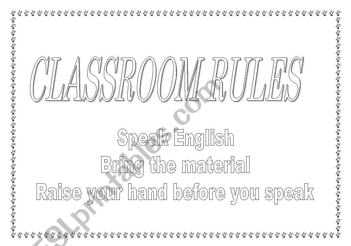 Classroom rules to colour and print