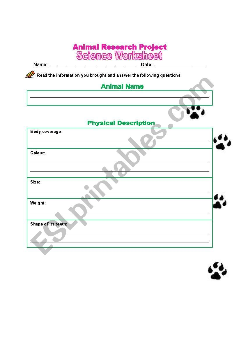 English worksheets: Animal Research Project Worksheet