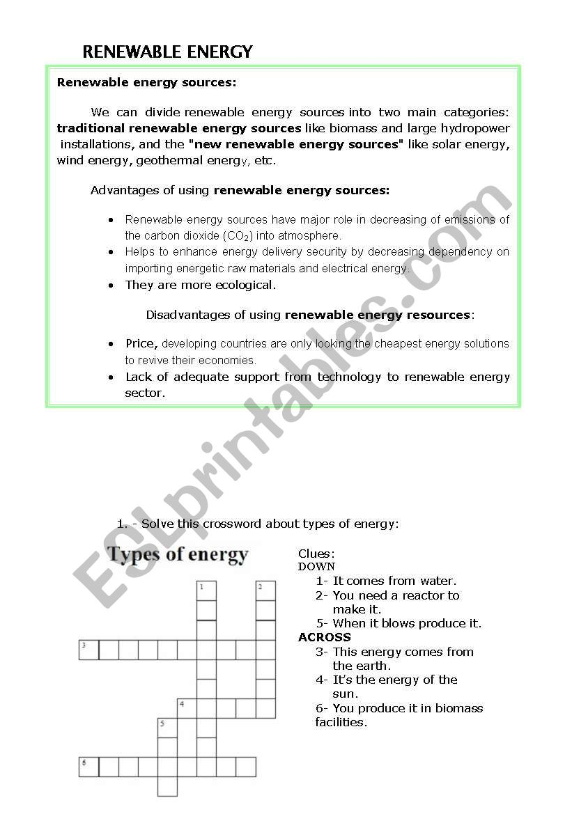 RENEWABLE ENERGY CROSSWORD AND READING