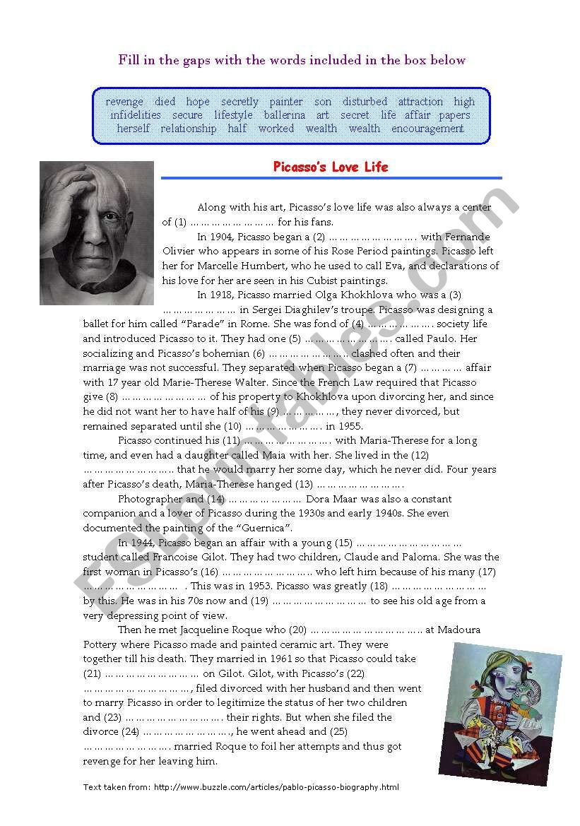 Picasso´s Love Life (Cloze) worksheet
