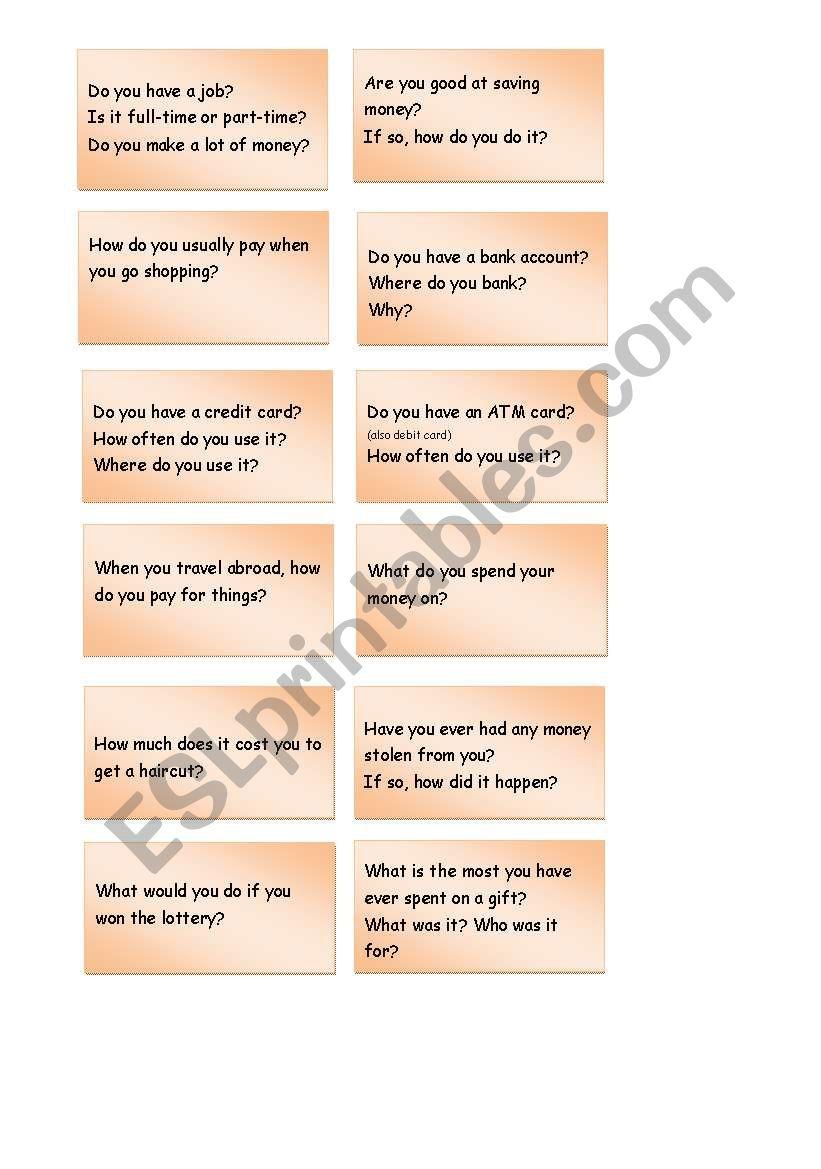 Let´s Talk about Money - Conversation Cards