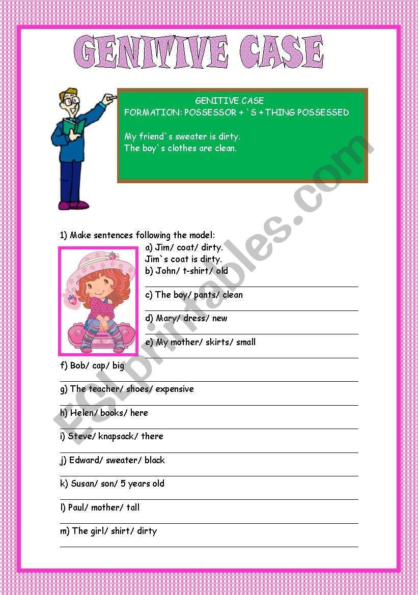 Genitive case worksheet