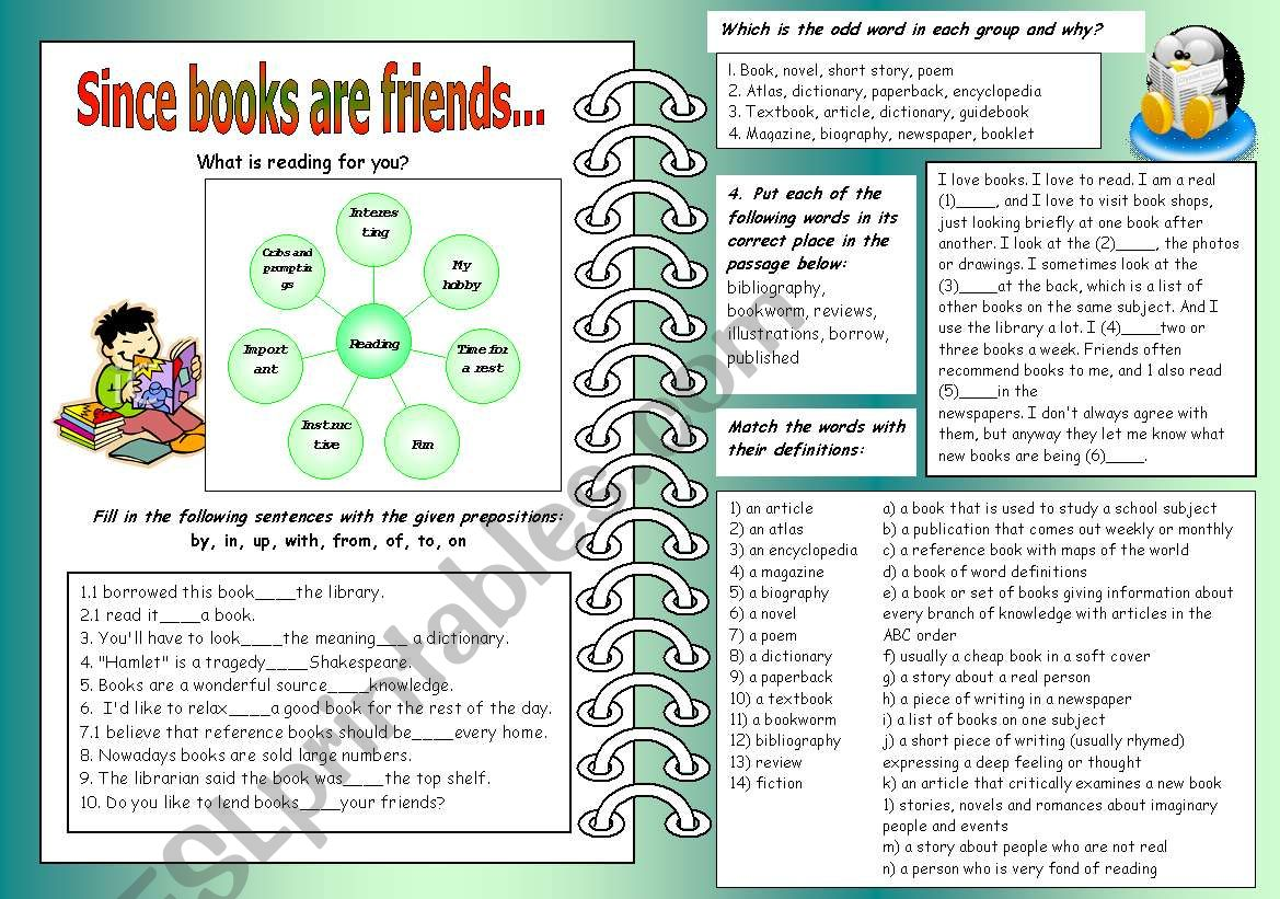 Since Books Are Friends worksheet